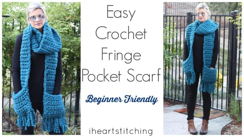 Easy Crochet Fringe Pocket Scarf