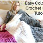 Easy Color Block Crochet Blanket Tutorial