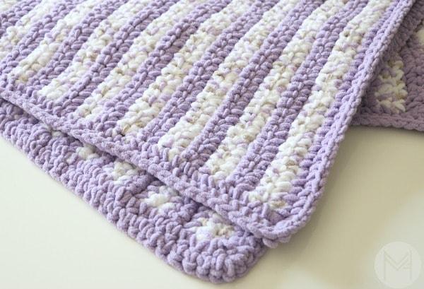 Beginner Crochet Stripes Baby Blanket With Border Tutorial