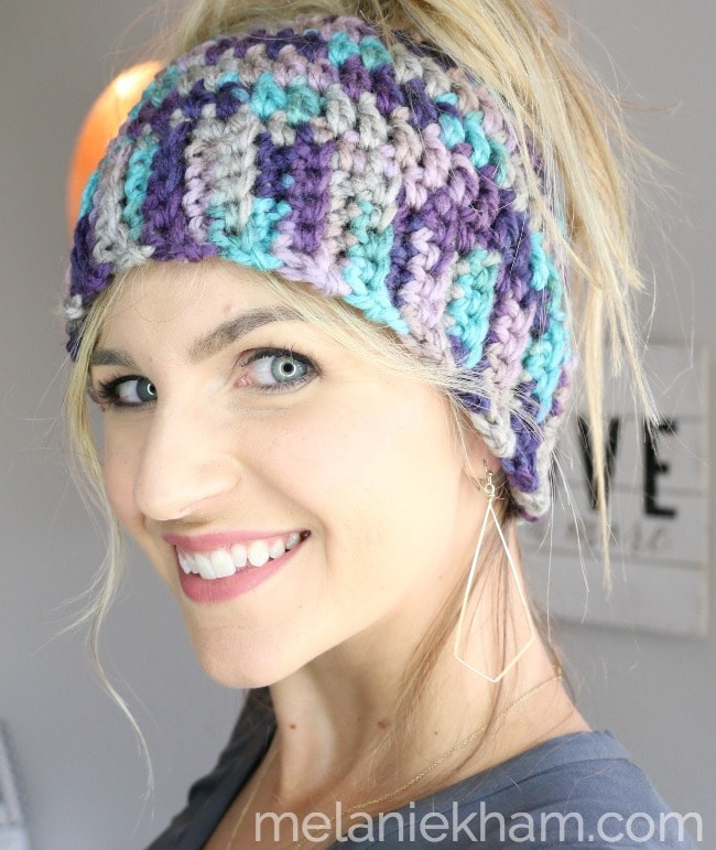 03fa8279bda99 Crochet Messy Bun Hat Tutorial for Beginners with Video Instructions