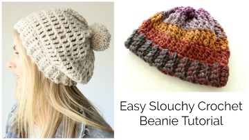 Easy Slouchy Crochet Beanie – Treble stitch