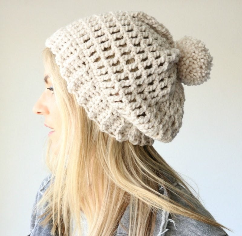 f2cf3968e49eb Easy slouchy crochet beanie tutorial with bulky yarn and great for ...