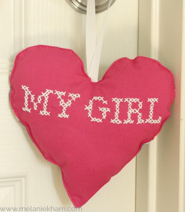 cross stitch heart pillow
