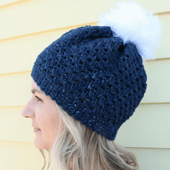 navy crochet beanie tutorial