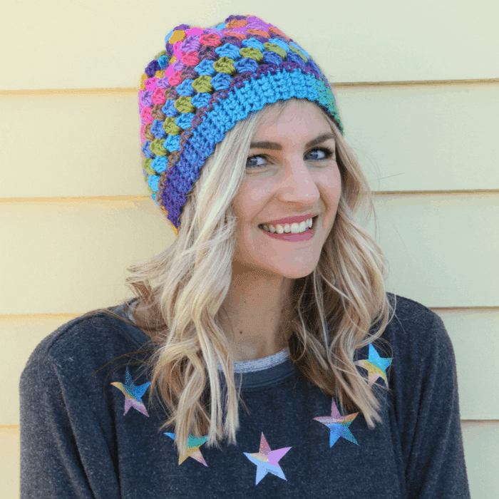 Easy Granny Cluster Crochet Beanie Hat Free Pattern and Video Tutorial