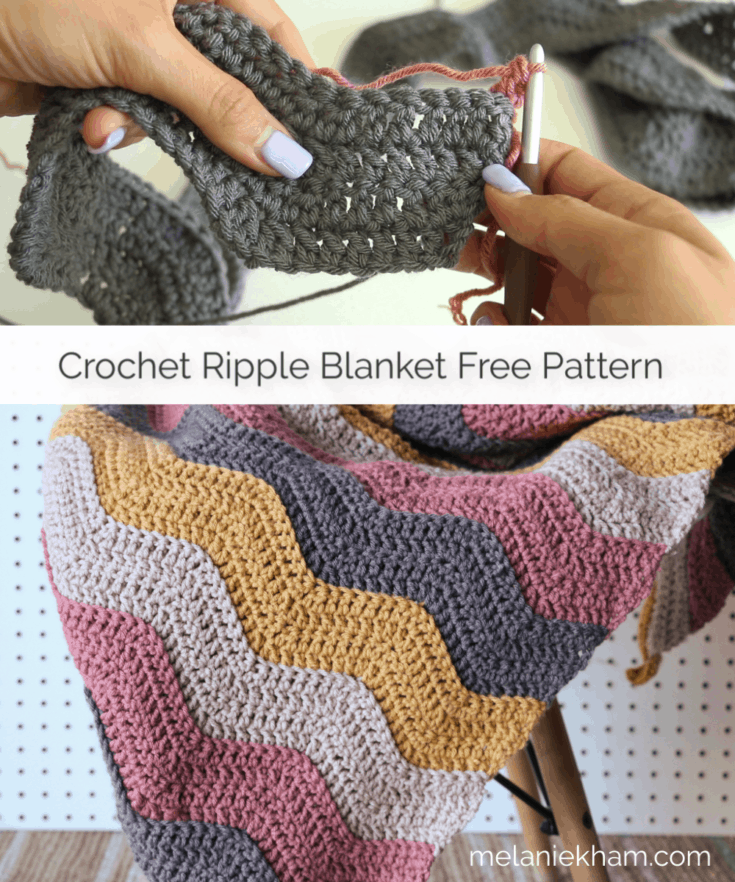 Learn how to make this beginner friendly crochet ripple blanket.  Free crochet project pattern and video tutorial by Melanie Ham.  This is a simple and easy crochet blanket, great for fall!