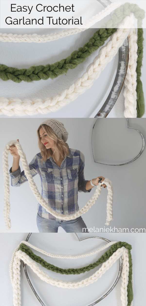 Learn how to make an easy crochet garland for the holiday season. Beginner friendly and you don't need to know how to crochet to make this ;).