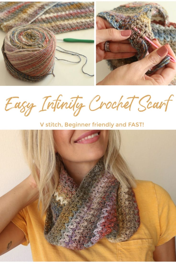 Learn how to make this easy infinity crochet scarf.  This crochet scarf is beginner friendly and super fast, only 3 hours to make the large size. Melanie Ham has a free written pattern and video tutorial just for you to make this easy and great for new crocheters. Check it out! #crochetscarf #infinitycrochetscarf #beginnercrochet