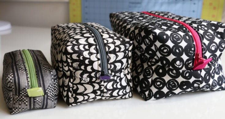 Zippered Box Pouch Sewing Tutorial - No Raw Edges - 3 sizes!