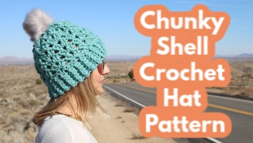 chunky shell crochet hat