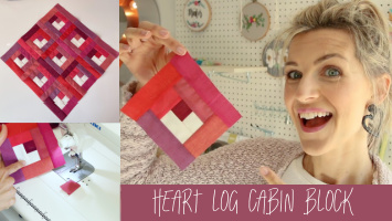 heart log cabin block